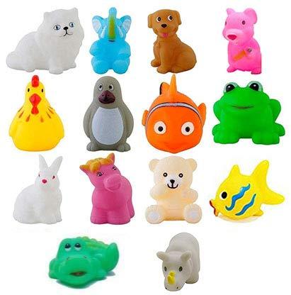 Baby Bath Toy Set of 14 Pcs Chu Chu Colorful Animal Shape Toy (Multicolor)