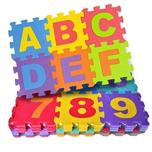 36 Pieces Mini Puzzle Foam Mat for Kids, Interlocking Learning Alphabet and Number Mat for Kids - Multicolor