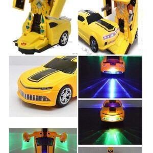 Battery Operated Robot Car Automatically Transforming Toy with 3D Light and Sound for Kids