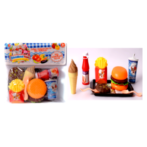 Mini kitchen fast food set (Multi color, 9 pieces)